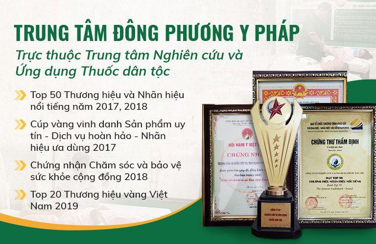 Trung tâm Đông phương y pháp được Bộ y tế công nhận và nhận được nhiều giải thưởng danh giá